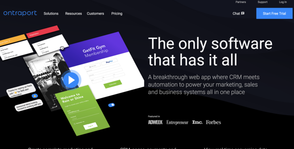 ontraport marketing automation software homepage