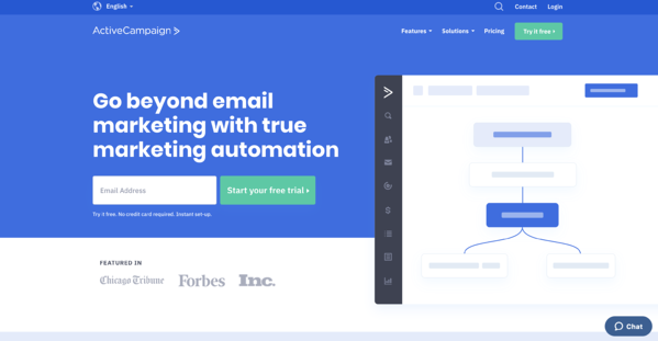 activecampaign marketing automation software homepage