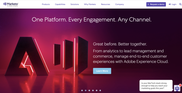 marketo automation software homepage