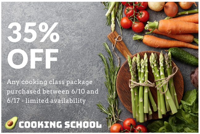 """Facebook ad from """"Cooking School"""" with excessive text overlay."""