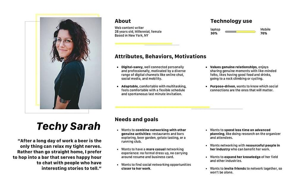 Persona for UX project for social networking app