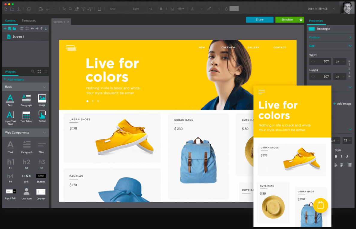 Justinmind prototype of ecommerce website on desktop and mobile