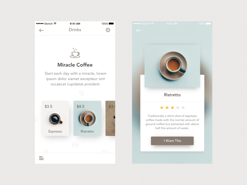 UX project showing redesigned drink menu for Miracle Coffee shop