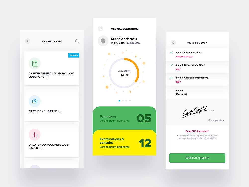 Three interfaces of patient app designed for UX project