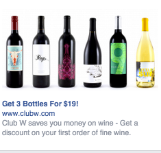 Club W Facebook Ad for Right Column Placement