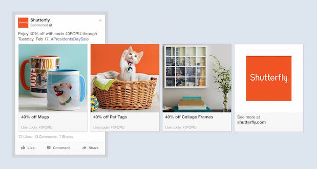 shutterfly facebook multi-product ad