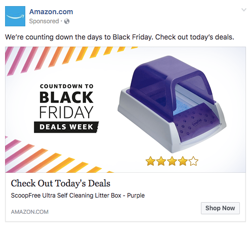 Amazon Litterbox Ad for Desktop News Feed Ad Placement