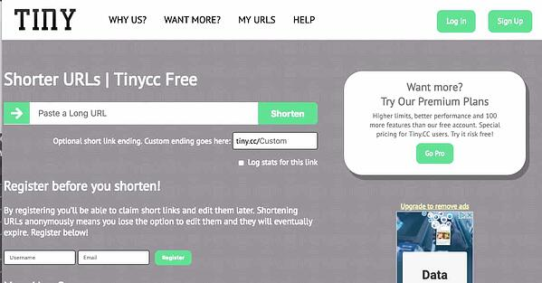 Tiny.CC homepage and link shortener