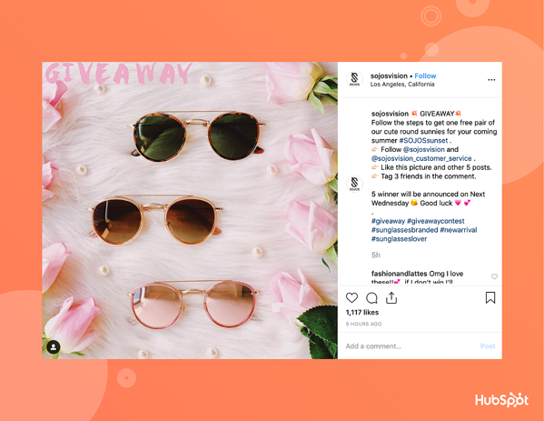 SojoS Vision sunglasses giveaway on Instagram.