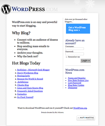 WordPress circa 2005
