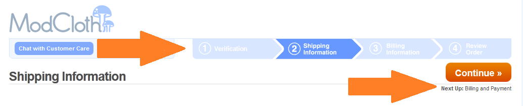 the registration steps for the checkout experience on ModCloth.com