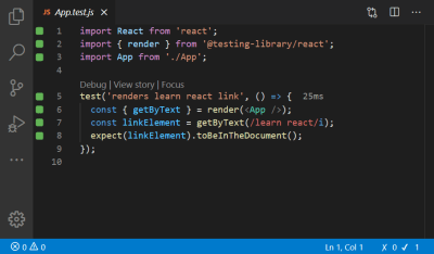 A screenshot of the code inside the App.test.js file