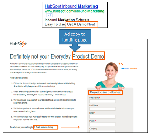 Landing page example with CTA.