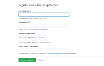 Register a new 0Auth app
