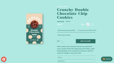 Example of how the Partake Foods website includes miniaturized and non-intrusive widgets for accessibility and rewards in its product page design