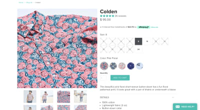 Kirrin Finch product page design with square size selectors and circle color selectors