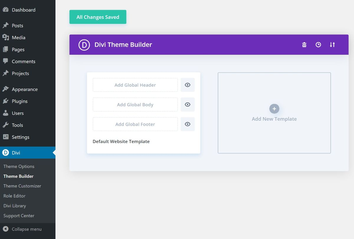 Divi theme builder interface