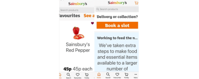 Sainsbury's app on a smartphone