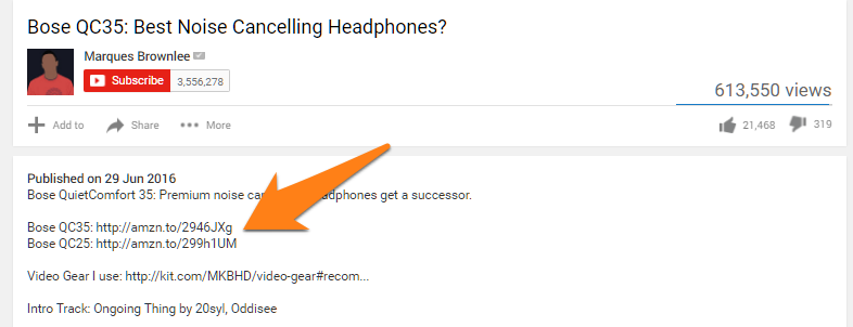Affiliate Links listed below a YouTube video reviewing a product