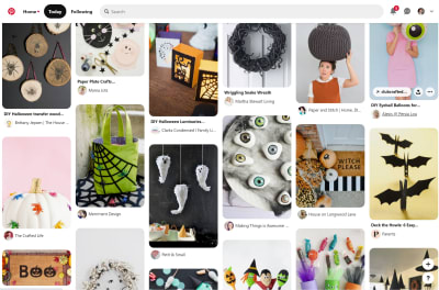 An example layout from the Pintrest website