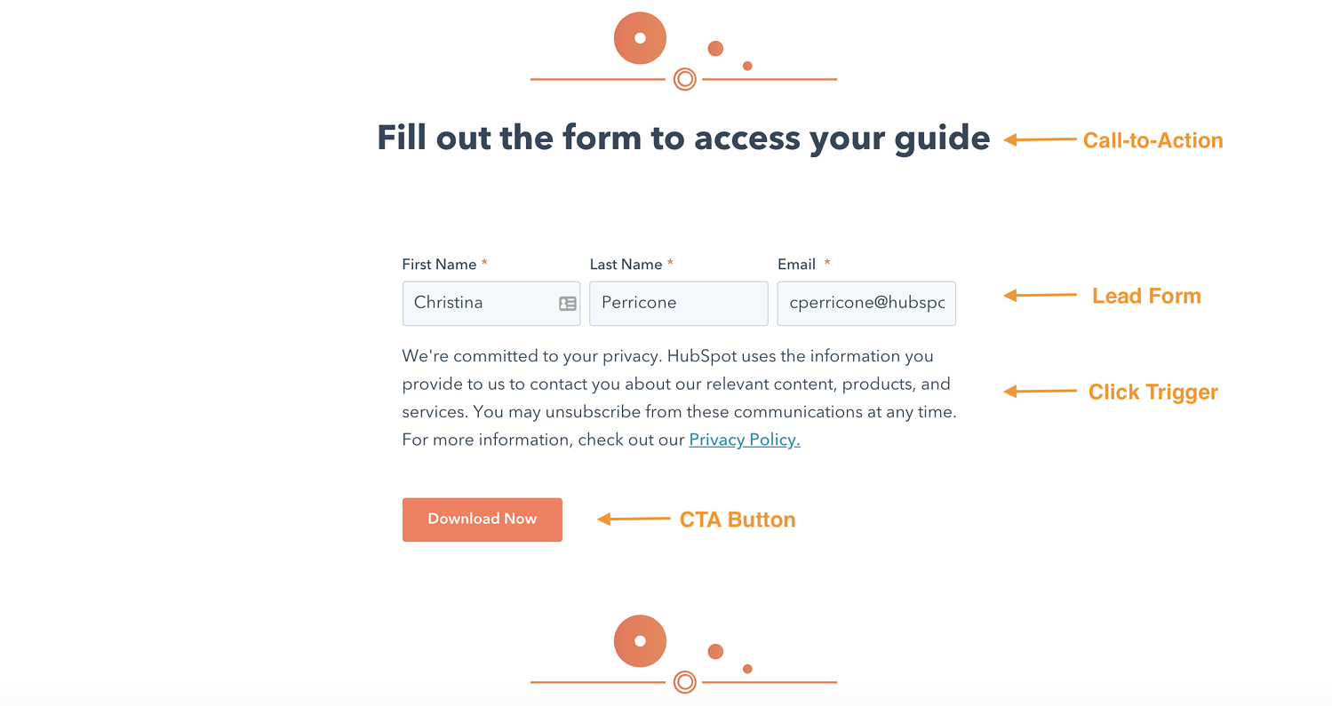hubspot lead form landing page