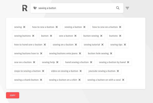 """rapidtags youtube tag generator results for """"sewing a button"""""""