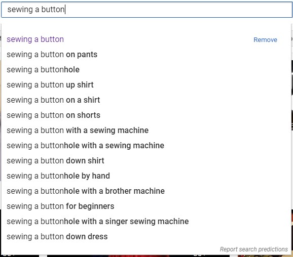 """youtube auto-suggest results for """"sewing a button"""""""